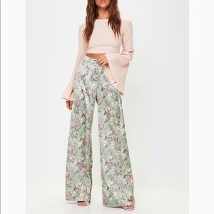 Missguided Green Print Wide Leg Trousers